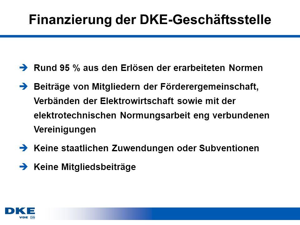 Finanzierung der DKE-Geschäftsstelle èRund 95 % aus den Erlösen der erarbeiteten Normen èBeiträge von Mitgliedern der Förderergemeinschaft, Verbänden