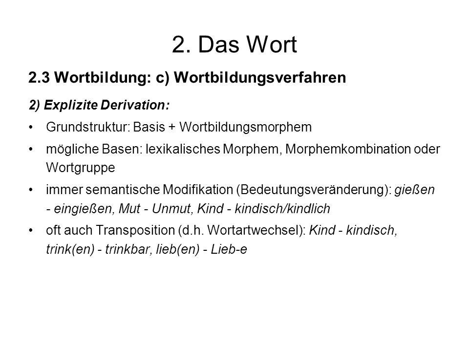 2. Das Wort 2.3 Wortbildung: c) Wortbildungsverfahren 2) Explizite Derivation: Grundstruktur: Basis + Wortbildungsmorphem mögliche Basen: lexikalische