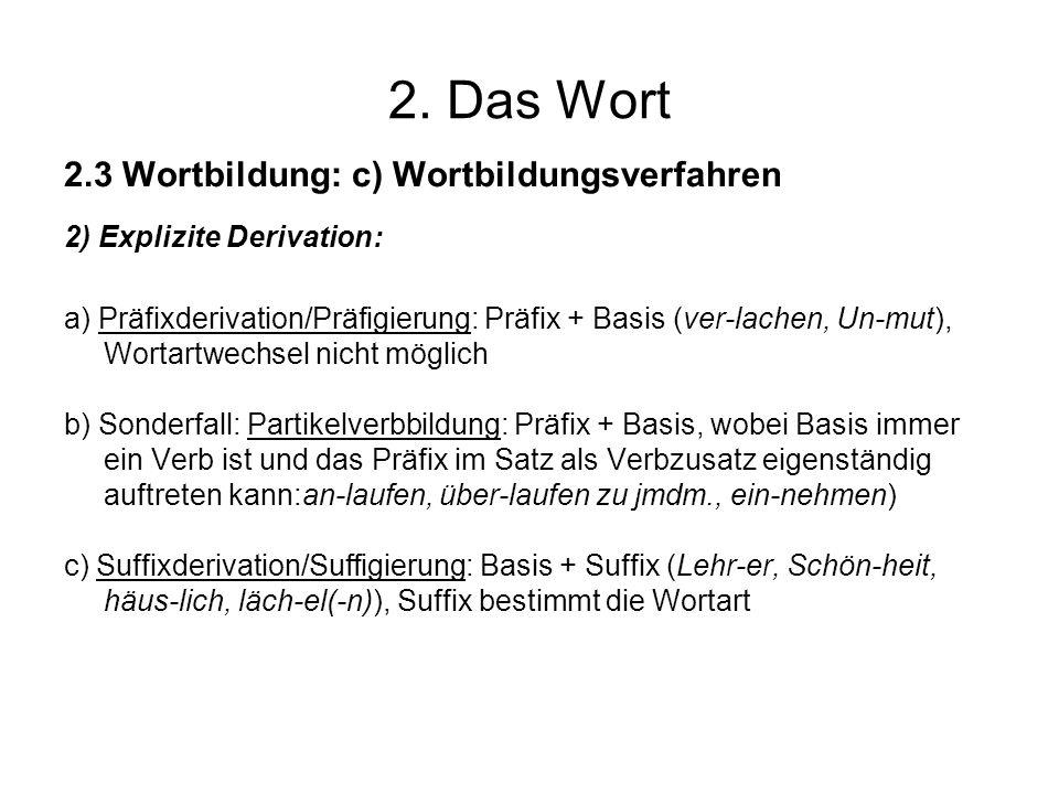 2. Das Wort 2.3 Wortbildung: c) Wortbildungsverfahren 2) Explizite Derivation: a) Präfixderivation/Präfigierung: Präfix + Basis (ver-lachen, Un-mut),