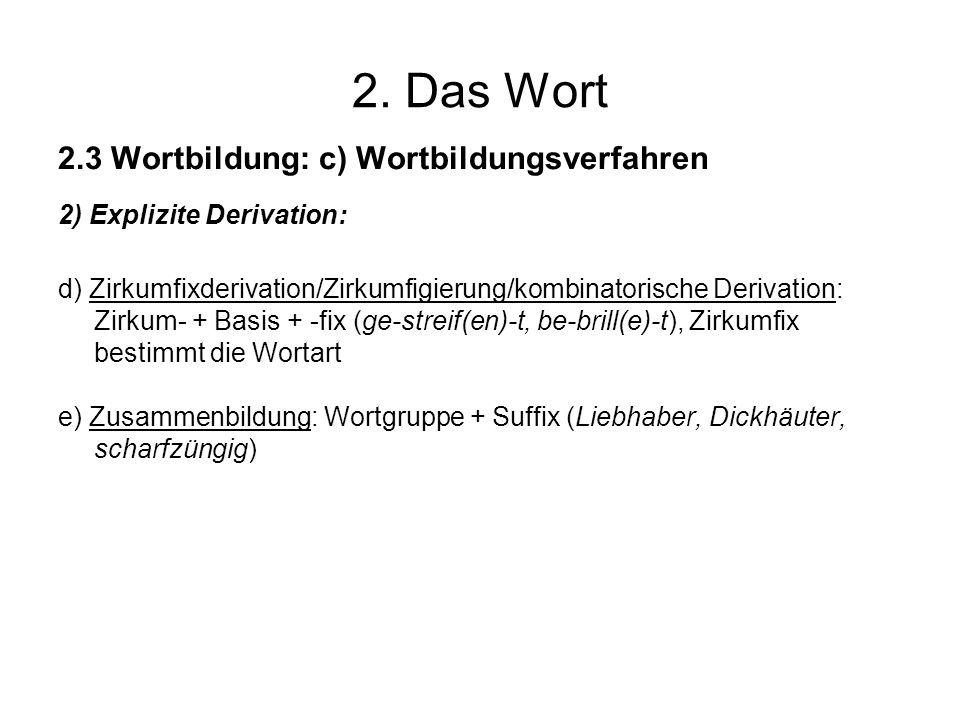 2. Das Wort 2.3 Wortbildung: c) Wortbildungsverfahren 2) Explizite Derivation: d) Zirkumfixderivation/Zirkumfigierung/kombinatorische Derivation: Zirk