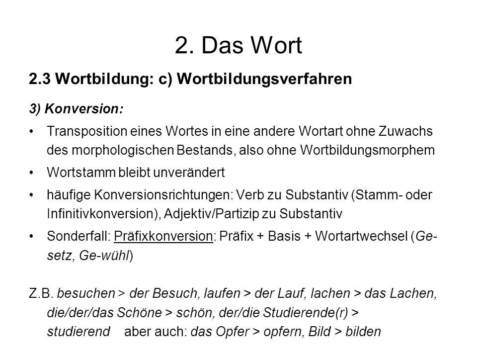 2. Das Wort 2.3 Wortbildung: c) Wortbildungsverfahren 3) Konversion: Transposition eines Wortes in eine andere Wortart ohne Zuwachs des morphologische