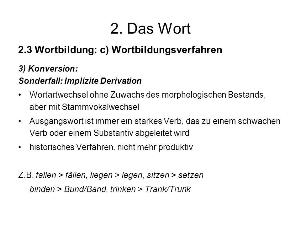 2. Das Wort 2.3 Wortbildung: c) Wortbildungsverfahren 3) Konversion: Sonderfall: Implizite Derivation Wortartwechsel ohne Zuwachs des morphologischen