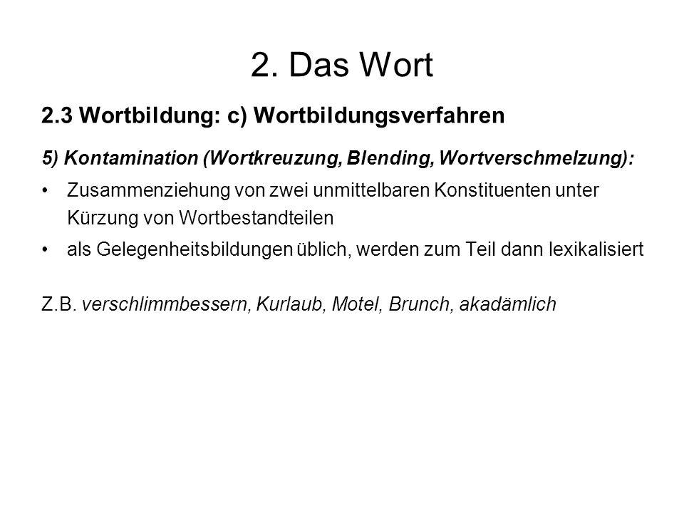 2. Das Wort 2.3 Wortbildung: c) Wortbildungsverfahren 5) Kontamination (Wortkreuzung, Blending, Wortverschmelzung): Zusammenziehung von zwei unmittelb