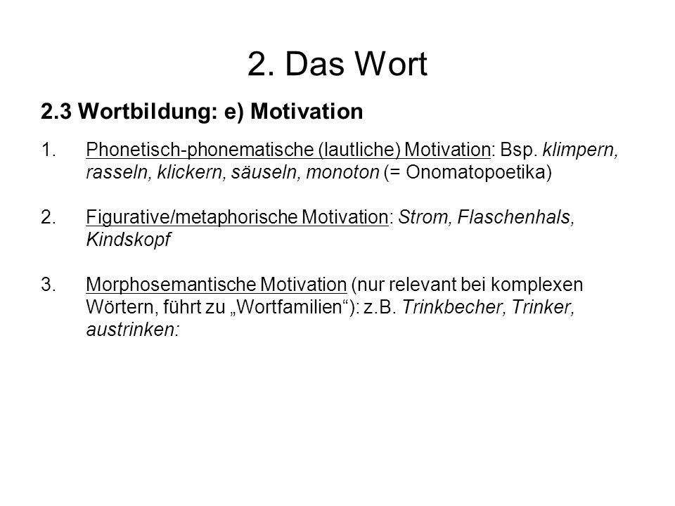 2. Das Wort 2.3 Wortbildung: e) Motivation 1.Phonetisch-phonematische (lautliche) Motivation: Bsp. klimpern, rasseln, klickern, säuseln, monoton (= On