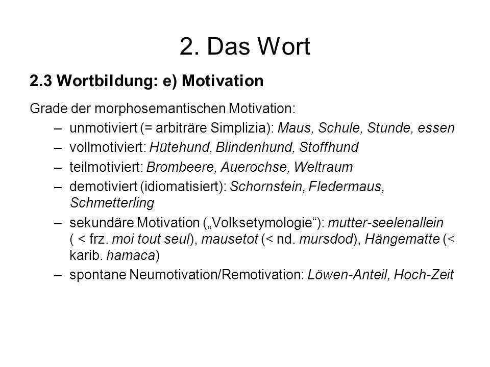2. Das Wort 2.3 Wortbildung: e) Motivation Grade der morphosemantischen Motivation: –unmotiviert (= arbiträre Simplizia): Maus, Schule, Stunde, essen