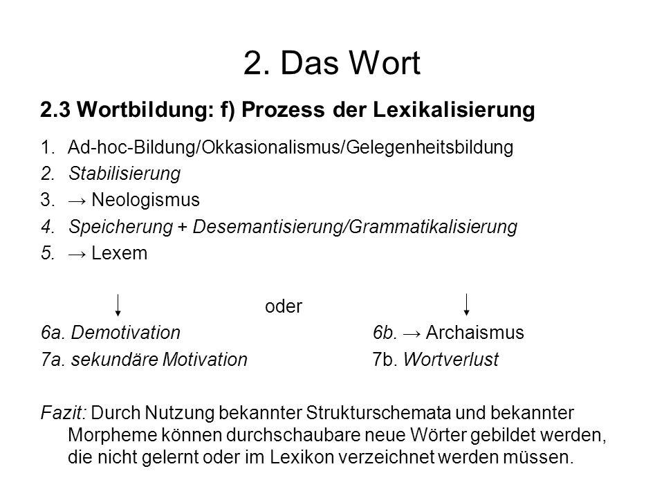 2. Das Wort 2.3 Wortbildung: f) Prozess der Lexikalisierung 1.Ad-hoc-Bildung/Okkasionalismus/Gelegenheitsbildung 2.Stabilisierung 3. Neologismus 4.Spe