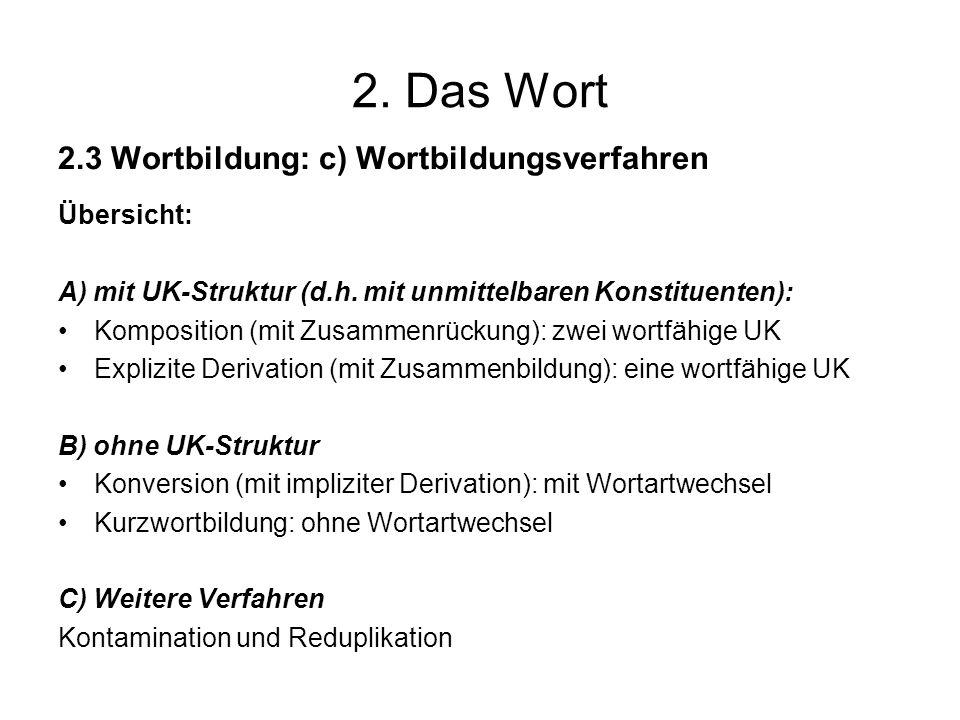 2. Das Wort 2.3 Wortbildung: c) Wortbildungsverfahren Übersicht: A) mit UK-Struktur (d.h. mit unmittelbaren Konstituenten): Komposition (mit Zusammenr