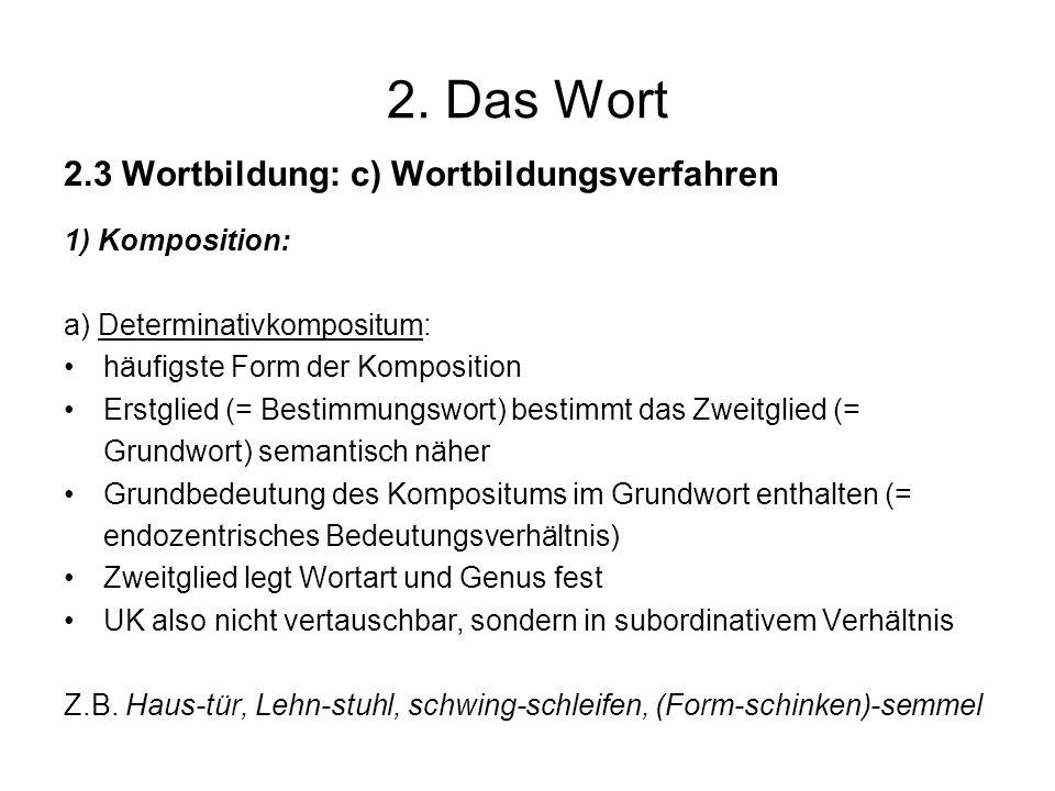 2. Das Wort 2.3 Wortbildung: c) Wortbildungsverfahren 1) Komposition: a) Determinativkompositum: häufigste Form der Komposition Erstglied (= Bestimmun
