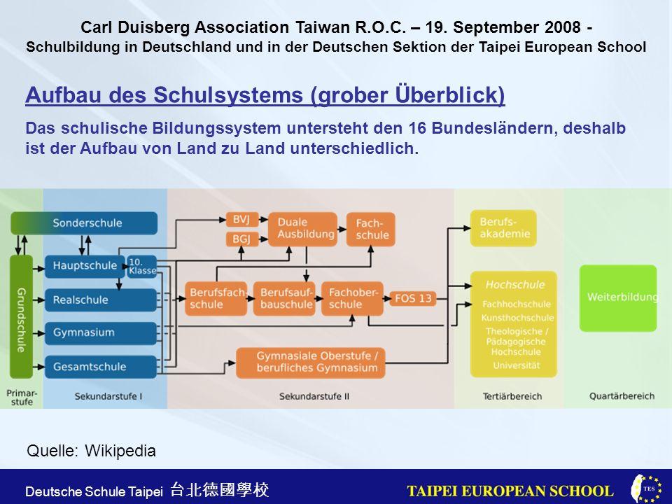 Taipei European School Apr. 21st, 2005 Deutsche Schule Taipei Aufbau des Schulsystems (grober Überblick) Das schulische Bildungssystem untersteht den