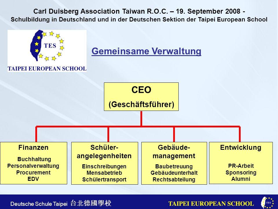 Taipei European School Apr. 21st, 2005 Deutsche Schule Taipei Gemeinsame Verwaltung CEO (Geschäftsführer) Gebäude- management Baubetreuung Gebäudeunte