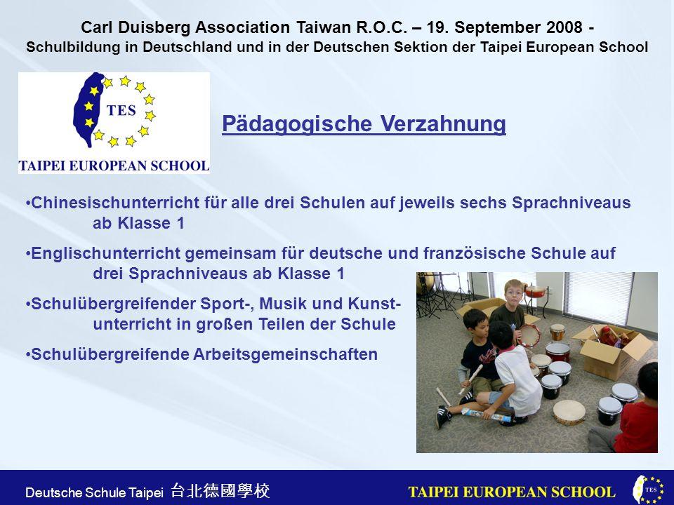 Taipei European School Apr. 21st, 2005 Deutsche Schule Taipei Pädagogische Verzahnung Chinesischunterricht für alle drei Schulen auf jeweils sechs Spr