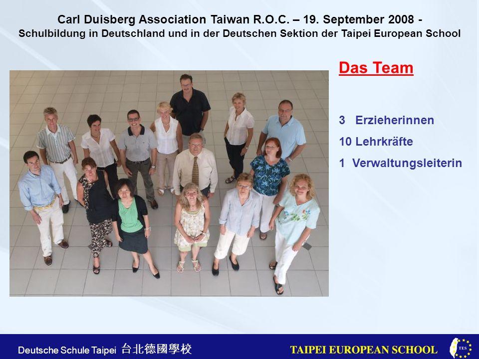 Taipei European School Apr. 21st, 2005 Deutsche Schule Taipei Das Team 3 Erzieherinnen 10 Lehrkräfte 1 Verwaltungsleiterin Carl Duisberg Association T