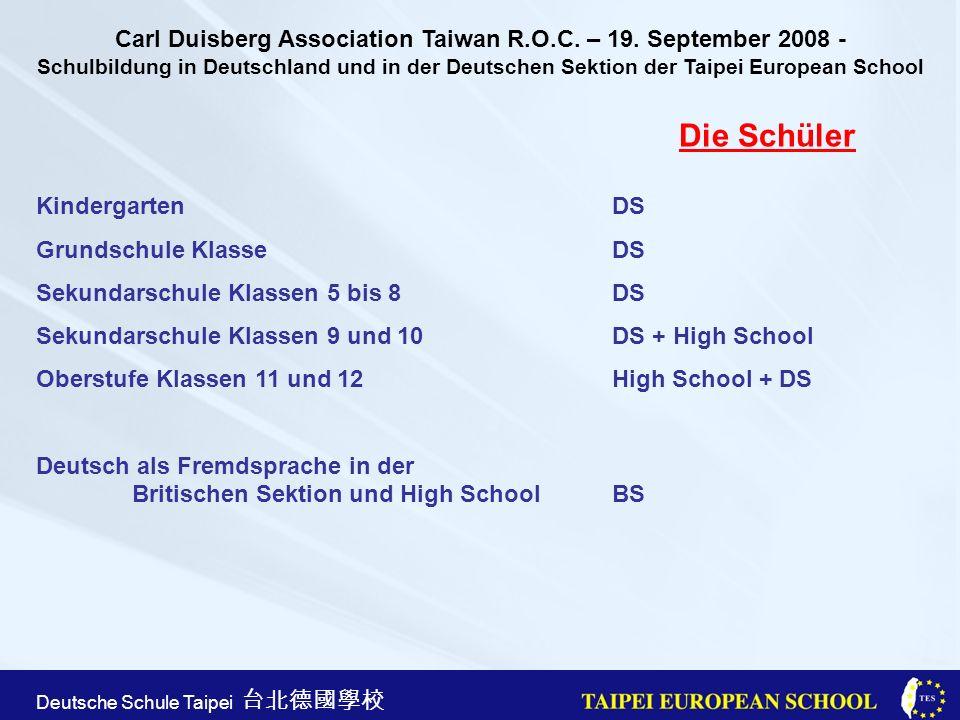Taipei European School Apr. 21st, 2005 Deutsche Schule Taipei Die Schüler KindergartenDS Grundschule Klasse DS Sekundarschule Klassen 5 bis 8DS Sekund