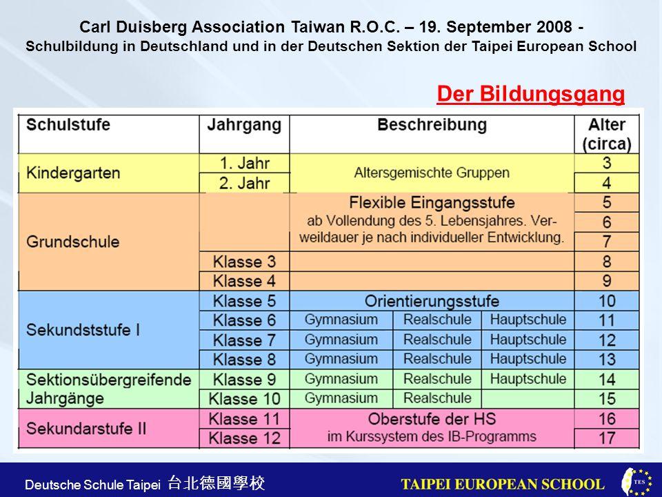 Taipei European School Apr. 21st, 2005 Deutsche Schule Taipei Der Bildungsgang Carl Duisberg Association Taiwan R.O.C. – 19. September 2008 - Schulbil