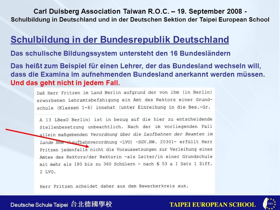 Taipei European School Apr. 21st, 2005 Deutsche Schule Taipei Schulbildung in der Bundesrepublik Deutschland Das schulische Bildungssystem untersteht