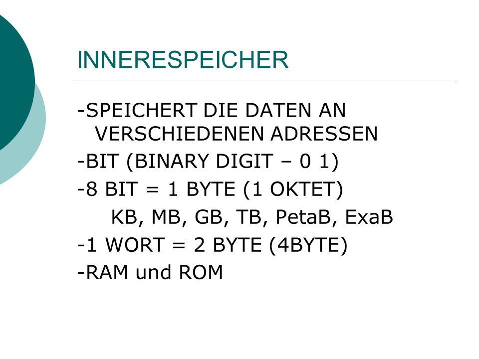 INNERESPEICHER -SPEICHERT DIE DATEN AN VERSCHIEDENEN ADRESSEN -BIT (BINARY DIGIT – 0 1) -8 BIT = 1 BYTE (1 OKTET) KB, MB, GB, TB, PetaB, ExaB -1 WORT = 2 BYTE (4BYTE) -RAM und ROM