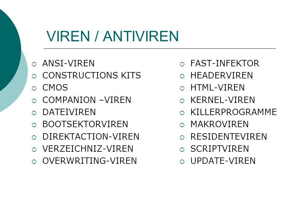VIREN / ANTIVIREN ANSI-VIREN CONSTRUCTIONS KITS CMOS COMPANION –VIREN DATEIVIREN BOOTSEKTORVIREN DIREKTACTION-VIREN VERZEICHNIZ-VIREN OVERWRITING-VIREN FAST-INFEKTOR HEADERVIREN HTML-VIREN KERNEL-VIREN KILLERPROGRAMME MAKROVIREN RESIDENTEVIREN SCRIPTVIREN UPDATE-VIREN