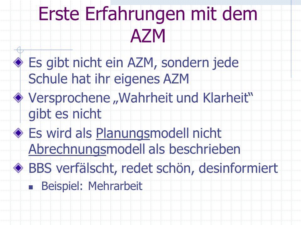 Erste Erfahrungen mit dem AZM Es gibt nicht ein AZM, sondern jede Schule hat ihr eigenes AZM Versprochene Wahrheit und Klarheit gibt es nicht Es wird