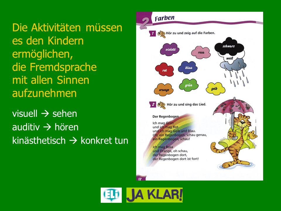 Die Aktivitäten müssen es den Kindern ermöglichen, die Fremdsprache mit allen Sinnen aufzunehmen visuell sehen auditiv hören kinästhetisch konkret tun