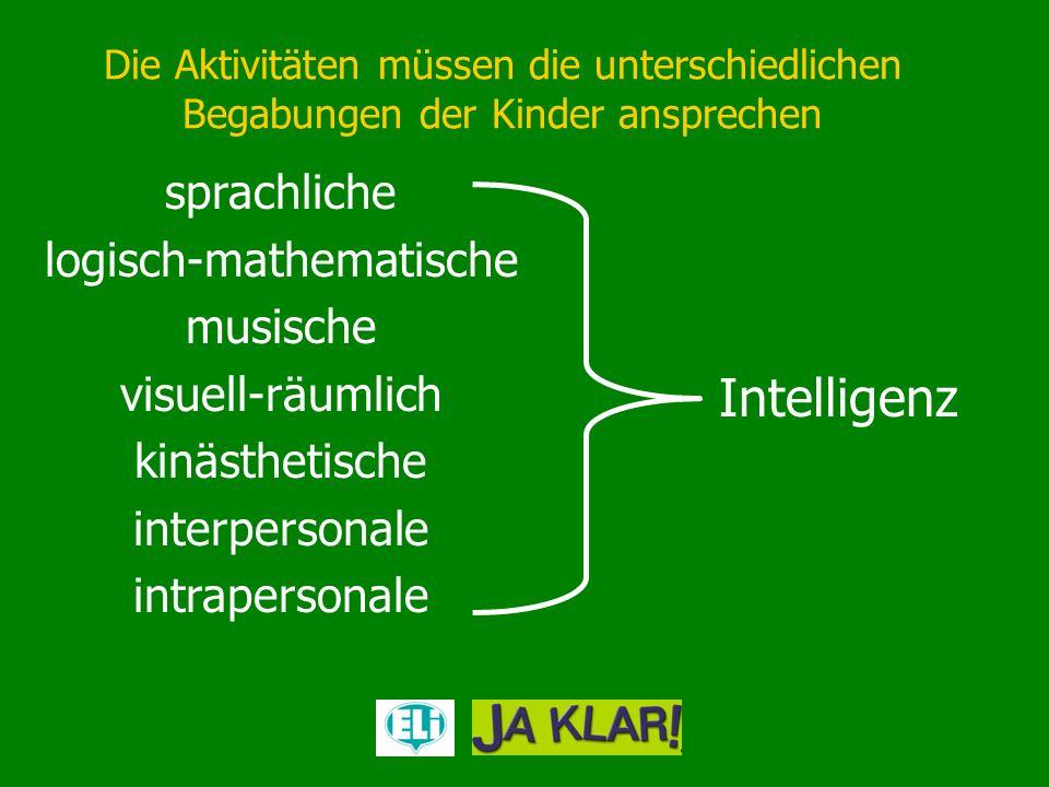 Die Aktivitäten müssen die unterschiedlichen Begabungen der Kinder ansprechen sprachliche logisch-mathematische musische visuell-räumlich kinästhetisc