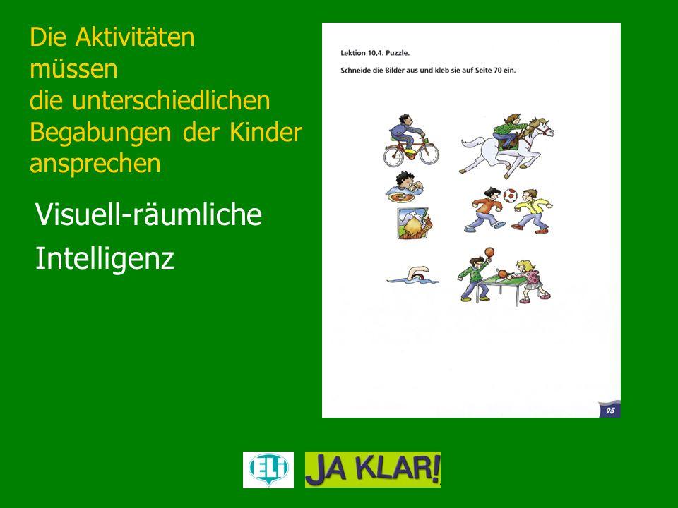 Die Aktivitäten müssen die unterschiedlichen Begabungen der Kinder ansprechen Visuell-räumliche Intelligenz
