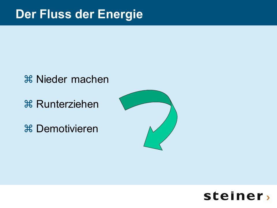 Der Fluss der Energie z Nieder machen z Runterziehen z Demotivieren