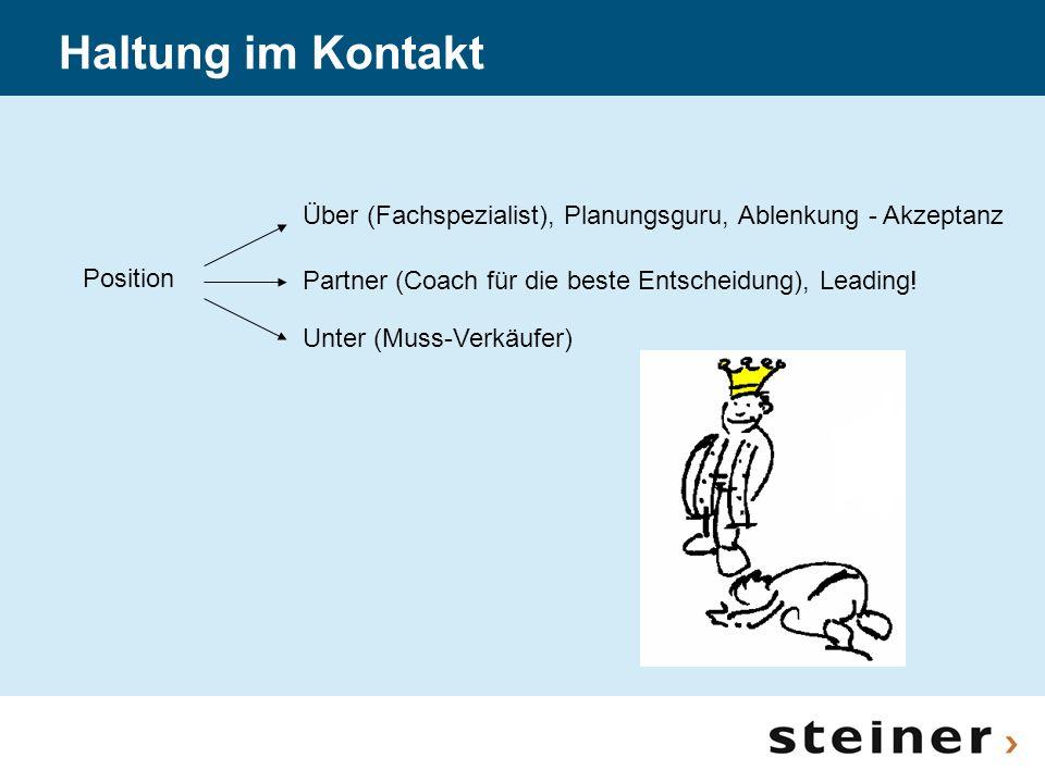 Position Über (Fachspezialist), Planungsguru, Ablenkung - Akzeptanz Partner (Coach für die beste Entscheidung), Leading! Unter (Muss-Verkäufer) Haltun