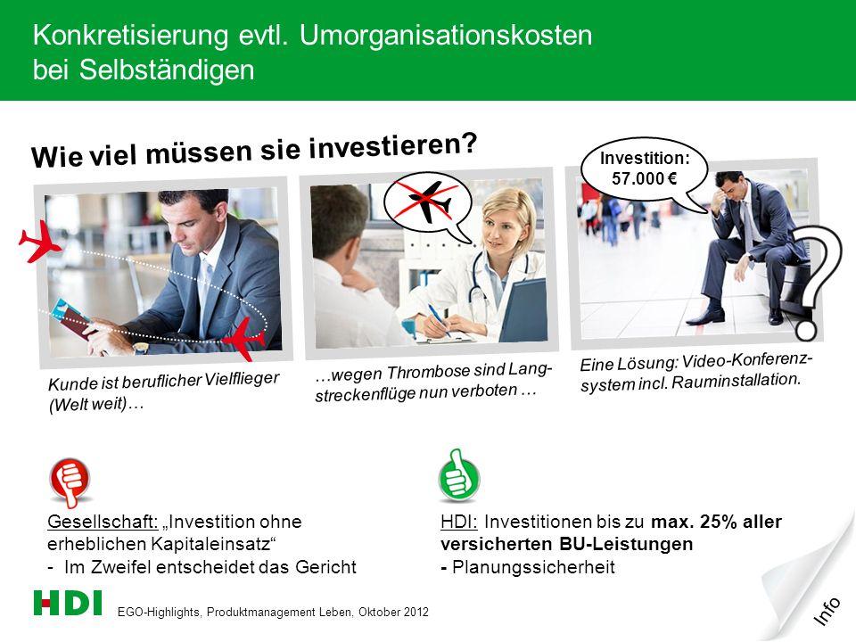 EGO-Highlights, Produktmanagement Leben, Oktober 2012 10 Wie viel müssen sie investieren? Kunde ist beruflicher Vielflieger (Welt weit)… …wegen Thromb
