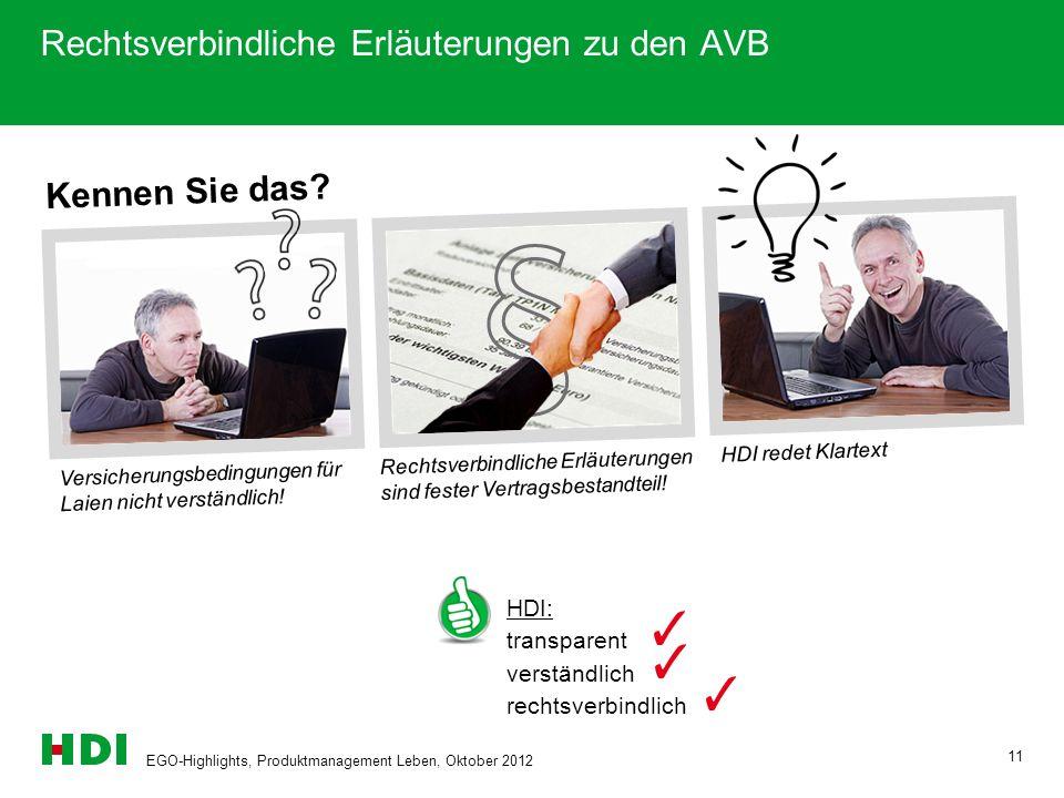 EGO-Highlights, Produktmanagement Leben, Oktober 2012 11 Kennen Sie das? Versicherungsbedingungen für Laien nicht verständlich! Rechtsverbindliche Erl