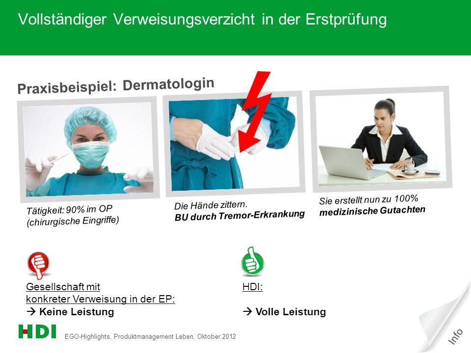 EGO-Highlights, Produktmanagement Leben, Oktober 2012 2 Praxisbeispiel: Dermatologin Tätigkeit: 90% im OP (chirurgische Eingriffe) Die Hände zittern.