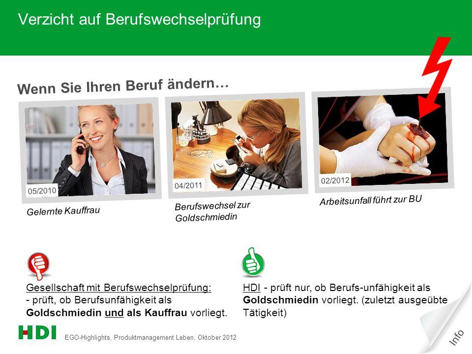 EGO-Highlights, Produktmanagement Leben, Oktober 2012 3 Wenn Sie Ihren Beruf ändern… Gelernte Kauffrau Berufswechsel zur Goldschmiedin Arbeitsunfall f