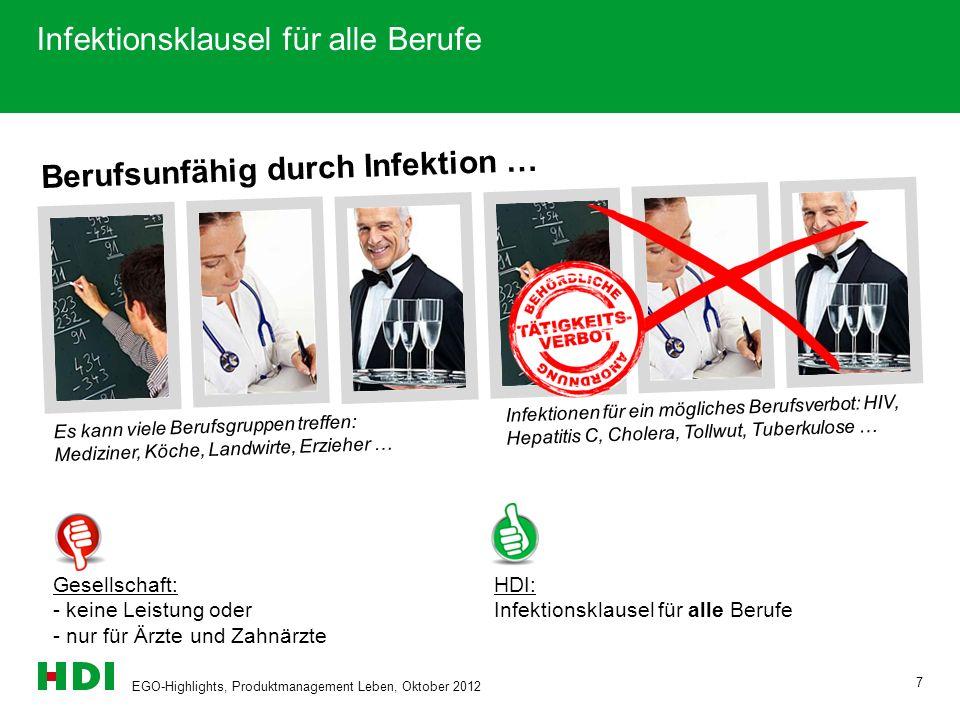 EGO-Highlights, Produktmanagement Leben, Oktober 2012 7 Berufsunfähig durch Infektion … Infektionsklausel für alle Berufe Es kann viele Berufsgruppen