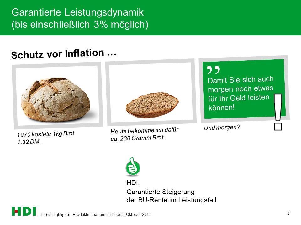 EGO-Highlights, Produktmanagement Leben, Oktober 2012 8 Schutz vor Inflation … 1970 kostete 1kg Brot 1,32 DM. Heute bekomme ich dafür ca. 230 Gramm Br