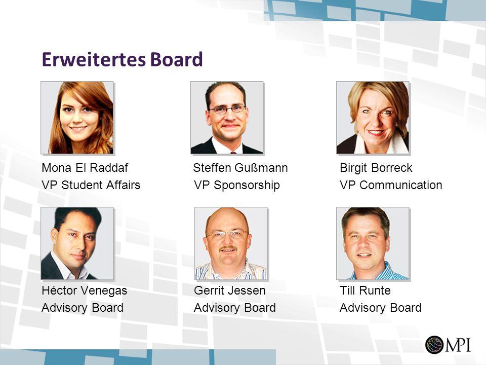 Erweitertes Board Mona El Raddaf Steffen Gußmann Birgit Borreck VP Student Affairs VP Sponsorship VP Communication Héctor Venegas Gerrit Jessen Till R