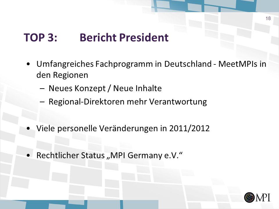 TOP 3: Bericht President Umfangreiches Fachprogramm in Deutschland - MeetMPIs in den Regionen –Neues Konzept / Neue Inhalte –Regional-Direktoren mehr