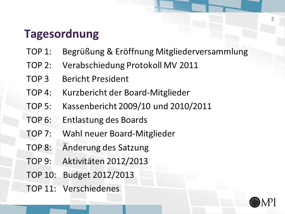 Tagesordnung TOP 1: Begrüßung & Eröffnung Mitgliederversammlung TOP 2: Verabschiedung Protokoll MV 2011 TOP 3 Bericht President TOP 4: Kurzbericht der