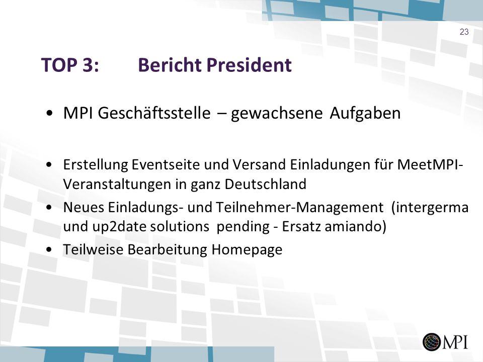 TOP 3: Bericht President MPI Geschäftsstelle – gewachsene Aufgaben Erstellung Eventseite und Versand Einladungen für MeetMPI- Veranstaltungen in ganz