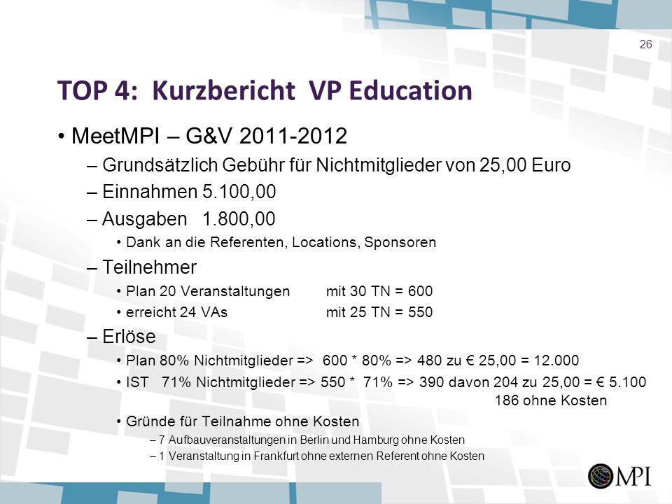 TOP 4: Kurzbericht VP Education MeetMPI – G&V 2011-2012 – Grundsätzlich Gebühr für Nichtmitglieder von 25,00 Euro – Einnahmen 5.100,00 – Ausgaben 1.80