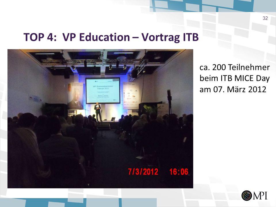 TOP 4: VP Education – Vortrag ITB 32 ca. 200 Teilnehmer beim ITB MICE Day am 07. März 2012