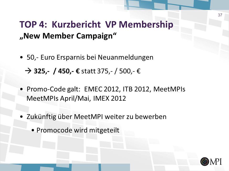 TOP 4: Kurzbericht VP Membership New Member Campaign 37 50,- Euro Ersparnis bei Neuanmeldungen 325,- / 450,- statt 375,- / 500,- Promo-Code galt: EMEC