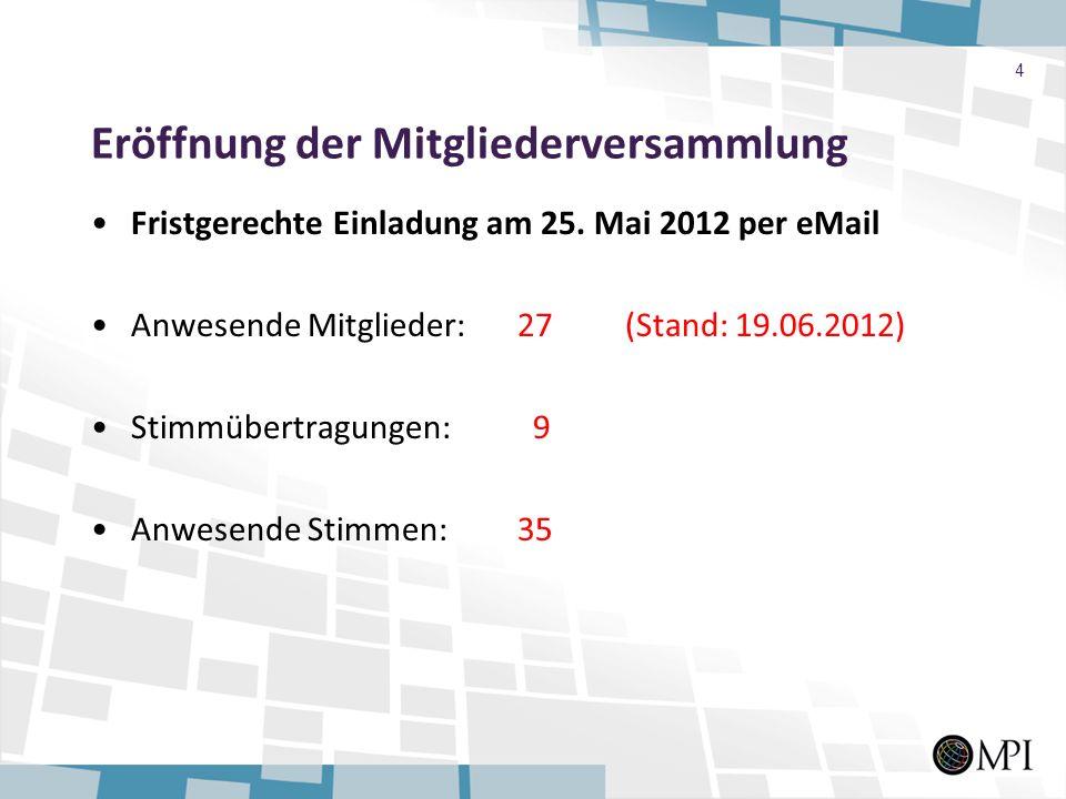 Eröffnung der Mitgliederversammlung Fristgerechte Einladung am 25. Mai 2012 per eMail Anwesende Mitglieder:27 (Stand: 19.06.2012) Stimmübertragungen: