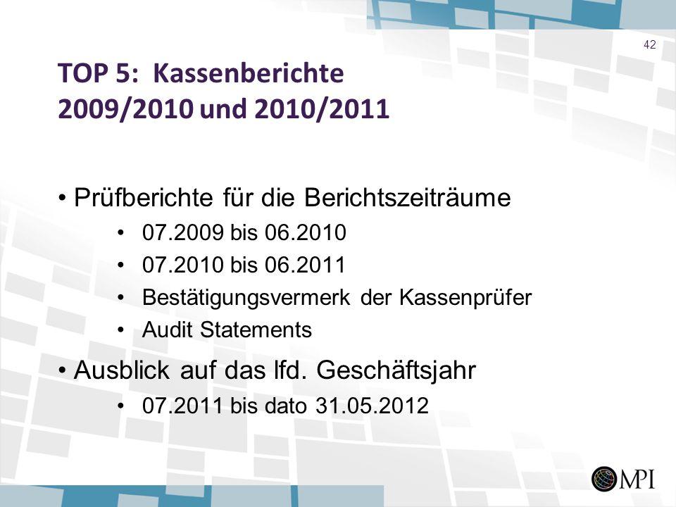 TOP 5: Kassenberichte 2009/2010 und 2010/2011 Prüfberichte für die Berichtszeiträume 07.2009 bis 06.2010 07.2010 bis 06.2011 Bestätigungsvermerk der K