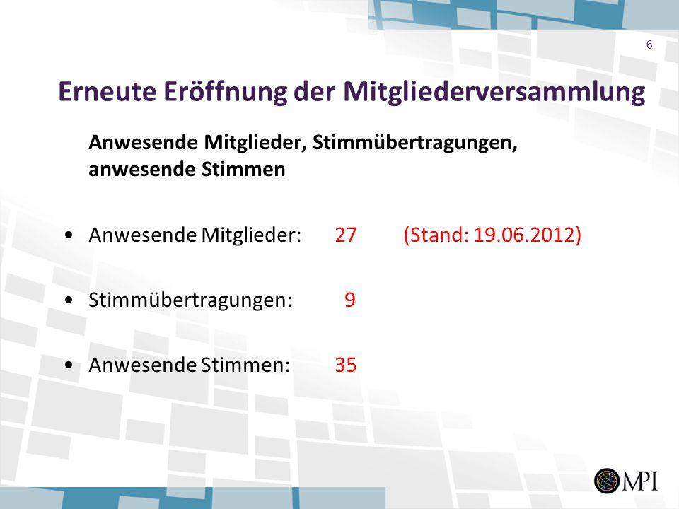Erneute Eröffnung der Mitgliederversammlung Anwesende Mitglieder, Stimmübertragungen, anwesende Stimmen Anwesende Mitglieder:27 (Stand: 19.06.2012) St