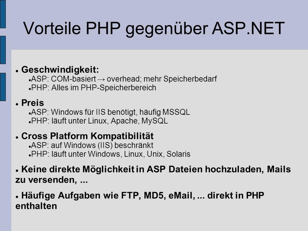 Vorteile PHP gegenüber ASP.NET Geschwindigkeit: ASP: COM-basiert overhead; mehr Speicherbedarf PHP: Alles im PHP-Speicherbereich Preis ASP: Windows fü