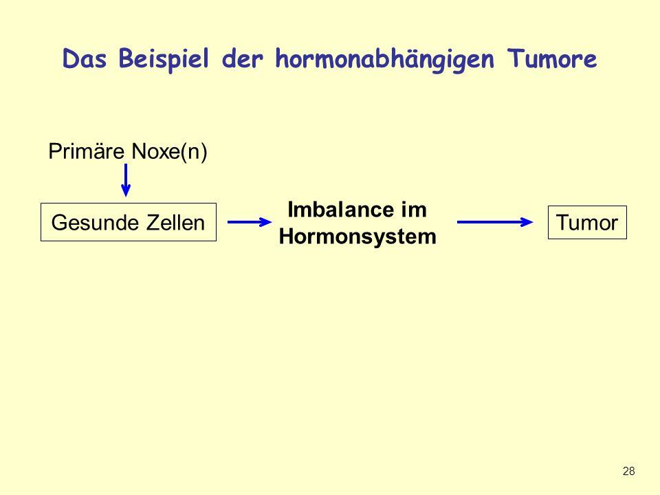 28 Das Beispiel der hormonabhängigen Tumore Hormonabhängiger Tumor Tumor Gesunde Zellen Imbalance im Hormonsystem Primäre Noxe(n)