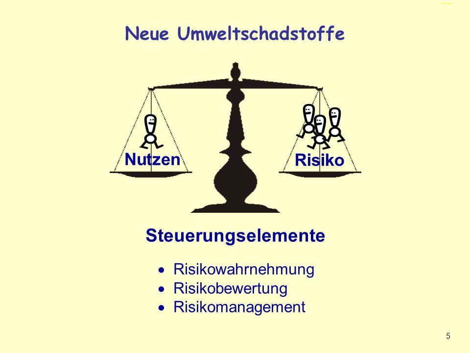 5 Neue Umweltschadstoffe - Gleichgewicht Nutzen Risiko Steuerungselemente Neue Umweltschadstoffe Risikowahrnehmung Risikobewertung Risikomanagement