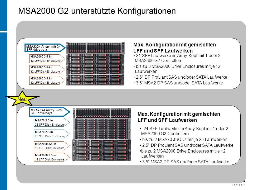 MSA2324 Array w/24 SFF drive bays MSA70 2.5-in 25 SFF Disk Enclosure MSA70 2.5-in 25 SFF Disk Enclosure MSA2000 3.5-in 12 LFF Disk Enclosure MSA2000 3.5-in 12 LFF Disk Enclosure Max.