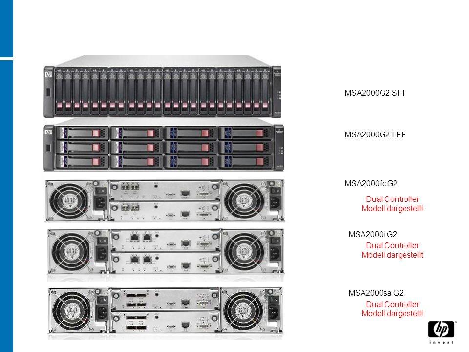 MSA2000G2 LFF MSA2000fc G2 MSA2000i G2 Dual Controller Modell dargestellt MSA2000sa G2 MSA2000G2 SFF Dual Controller Modell dargestellt