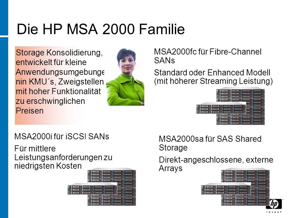 Die HP MSA 2000 Familie Storage Konsolidierung, entwickelt für kleine Anwendungsumgebunge nin KMU´s, Zweigstellen mit hoher Funktionalität zu erschwinglichen Preisen MSA2000sa für SAS Shared Storage Direkt-angeschlossene, externe Arrays MSA2000fc für Fibre-Channel SANs Standard oder Enhanced Modell (mit höherer Streaming Leistung) MSA2000i für iSCSI SANs Für mittlere Leistungsanforderungen zu niedrigsten Kosten
