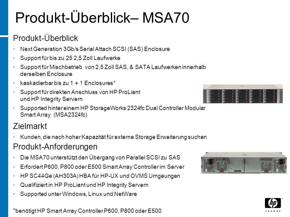 Produkt-Überblick– MSA70 Produkt-Überblick Next Generation 3Gb/s Serial Attach SCSI (SAS) Enclosure Support für bis zu 25 2,5 Zoll Laufwerke Support für Mischbetrieb von 2,5 Zoll SAS, & SATA Laufwerken innerhalb derselben Enclosure kaskadierbar bis zu 1 + 1 Enclosures* Support für direkten Anschluss von HP ProLiant und HP Integrity Servern Supported hinter einem HP StorageWorks 2324fc Dual Controller Modular Smart Array (MSA2324fc) Zielmarkt Kunden, die nach hoher Kapazität für externe Storage Erweiterung suchen Produkt-Anforderungen Die MSA70 unterstützt den Übergang von Parallel SCSI zu SAS Erfordert P600, P800 oder E500 Smart Array Controller im Server HP SC44Ge (AH303A) HBA für HP-UX und OVMS Umgeungen Qualifiziert in HP ProLiant und HP Integrity Servern Supported unter Windows, Linux und NetWare * benötigt HP Smart Array Controller P600, P800 oder E500